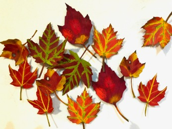 Painted and fused leaves. Fashioned into lapel pins and used to embellish quilts.