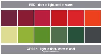 red green warm cool gradation