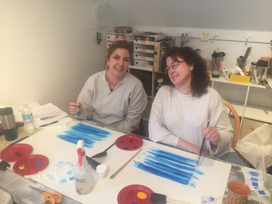 Lisa and Lynn painting