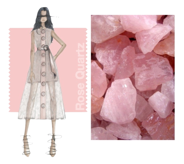 rose quartz collage white