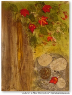"""Autumn in New Hampshire"" Painted, mono-printed, appliquéd and stitched cotton. $750.00 SOLD"