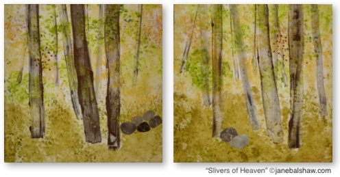 """Slivers of Heaven"" Mono-printed, painted and stitched cotton. $650.00 SOLD"