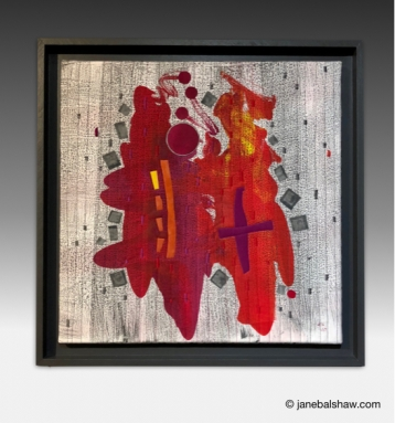 """""""And it Came from the Sky"""" 22""""x 22"""" Mono-printed, appliquéd and stitched cotton. $850.00"""