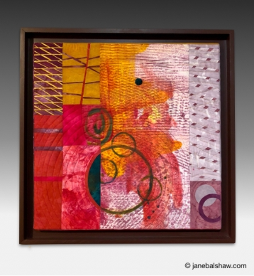 """""""From the Pan into the Fire"""" 22"""" x 22"""" Mono-printed, dyed, appliquéd and stitched cotton. $850.00 SOLD"""